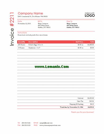 word 2013 sales invoice