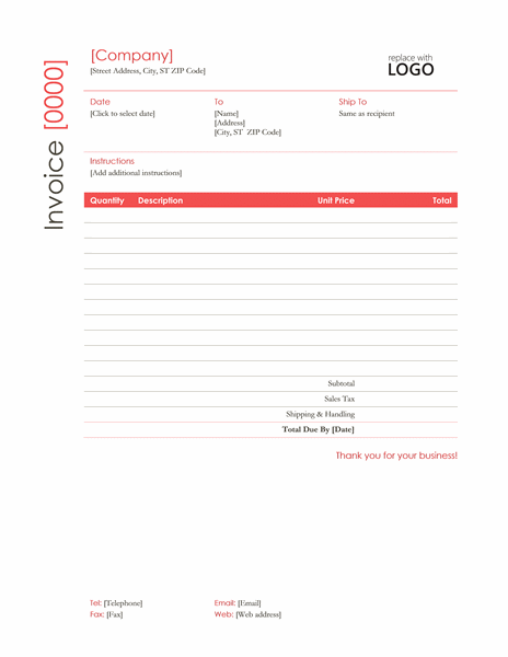 Sales Invoice Template In Red Theme