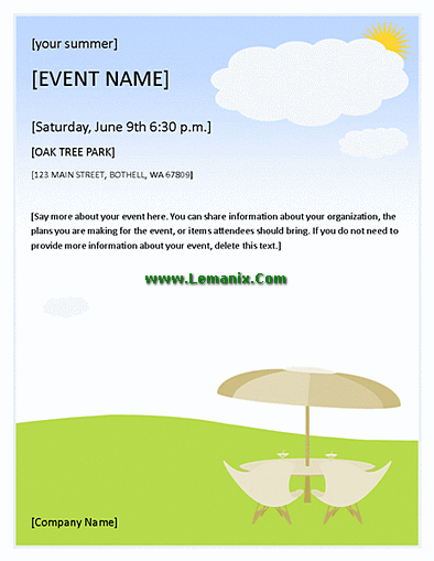 Summer event flyer for microsoft publisher templates for for Event program template publisher