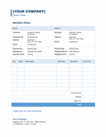 Template For Sales Invoice In Blue Theme