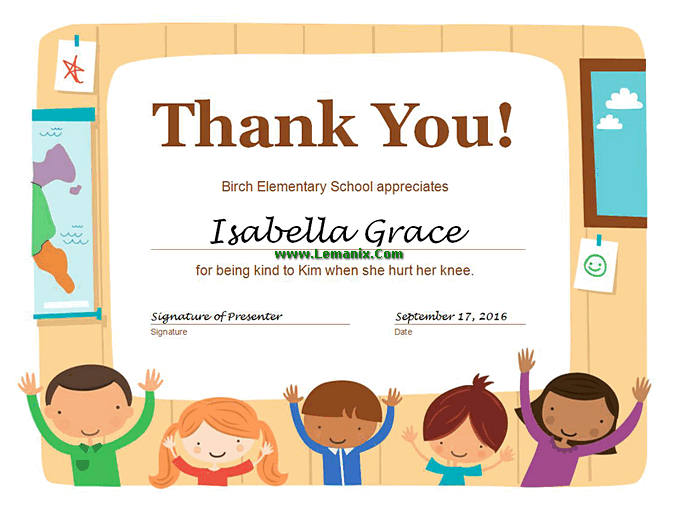 Thank you certificate free publisher templates for for Publisher certificate template