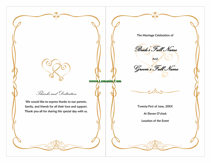 Amazing Wedding Program Template Word Love And Heart Design In Program Templates Word