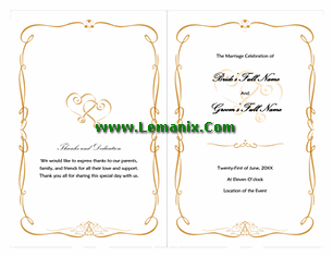 Wedding Program Template Word Love And Heart Design
