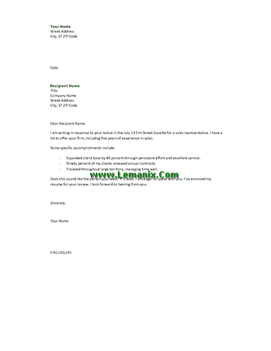 Cover Letter Templates In Response To Advertising Offer 03