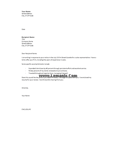 Cover Letter Templates In Response To Advertising Offer 04