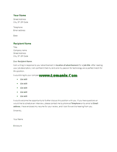 Cover Letter Templates To Response Advertisement 03