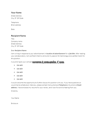 Cover Letter Templates To Response Advertisement 04