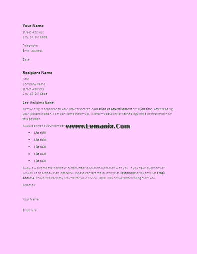 Cover Letter Templates To Response Advertisement 06
