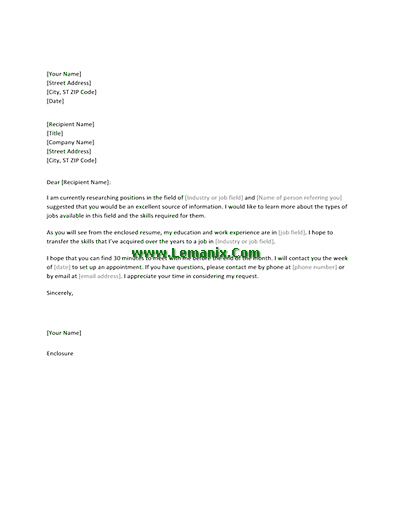 Informational Interview Letter Request Templates For Word 2013 Or