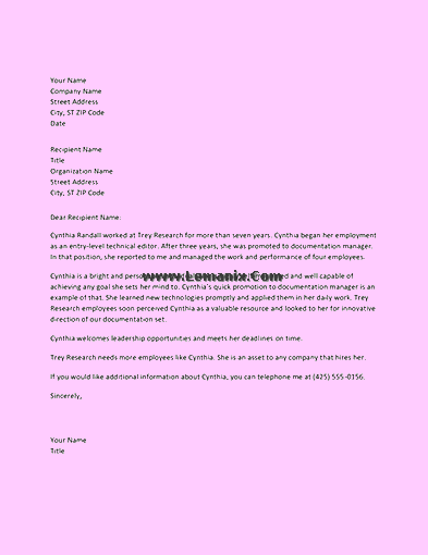 Managerial Employee Reference Letter Templates 06