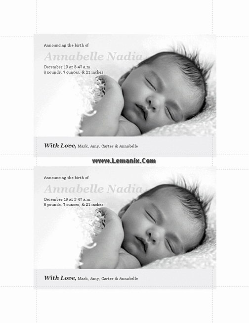 Pinky Birth Announcements Microsoft Publisher Templates 01