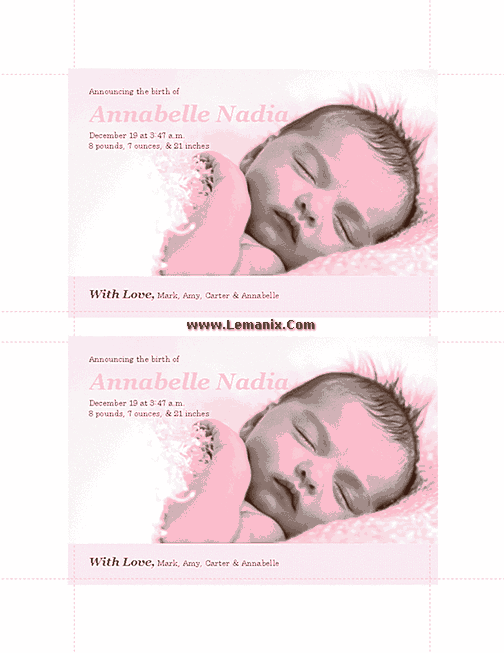 Pinky Birth Announcements Microsoft Publisher Templates 02