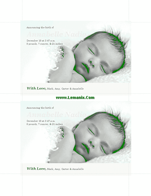 Pinky Birth Announcements Microsoft Publisher Templates 03