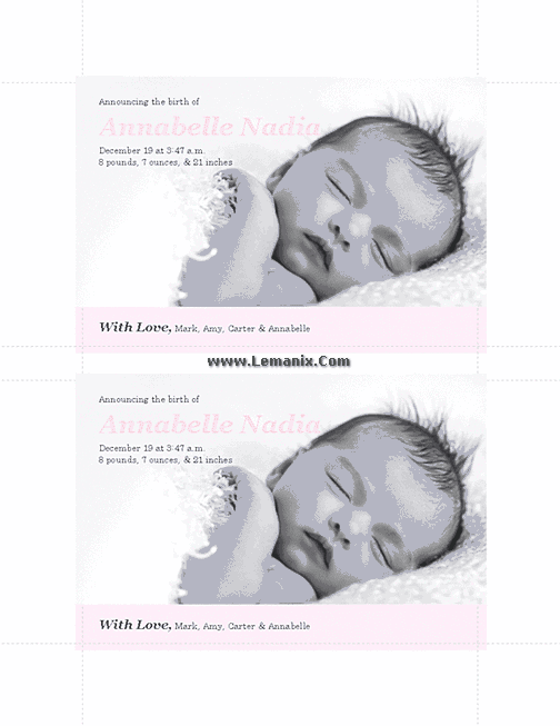 Pinky Birth Announcements Microsoft Publisher Templates 04