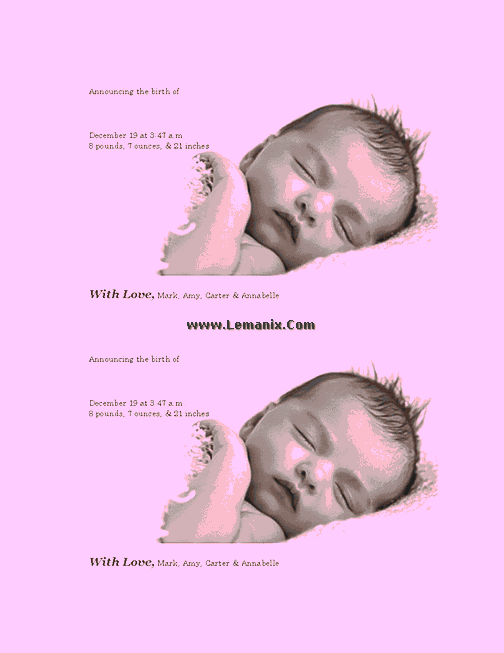 Pinky Birth Announcements Microsoft Publisher Templates 06